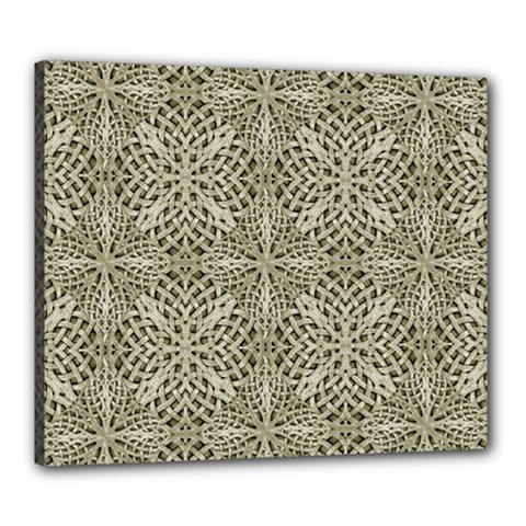 Silver Intricate Arabesque Pattern Canvas 24  X 20  (framed)