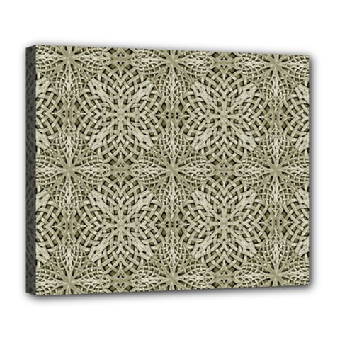 Silver Intricate Arabesque Pattern Deluxe Canvas 24  X 20  (framed)