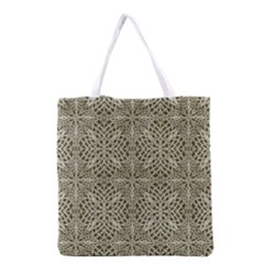 Silver Intricate Arabesque Pattern Grocery Tote Bag