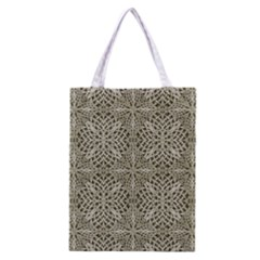Silver Intricate Arabesque Pattern Classic Tote Bag