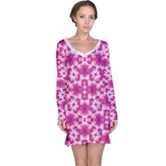 Floral Print Pink Passionate Dreams  Long Sleeve Nightdress