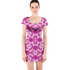 Floral Print Pink Passionate Dreams  Short Sleeve Bodycon Dress