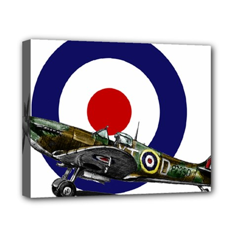 Spitfire And Roundel Canvas 10  X 8  (framed)