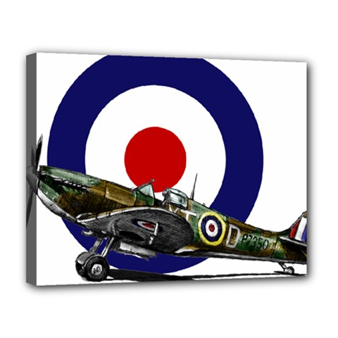 Spitfire And Roundel Canvas 14  X 11  (framed)