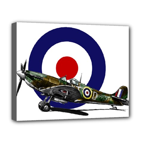 Spitfire And Roundel Deluxe Canvas 20  X 16  (framed)
