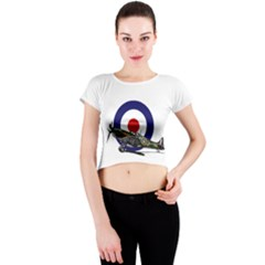 Spitfire And Roundel Crew Neck Crop Top