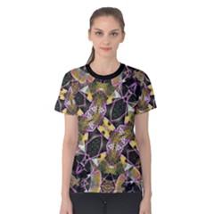 Geometric Grunge Pattern Print Women s Cotton Tee