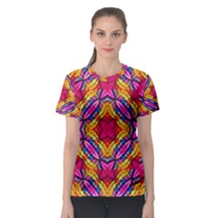 Multicolored Abstract Print Women s Sport Mesh Tee