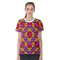 Multicolored Abstract Print Women s Cotton Tee