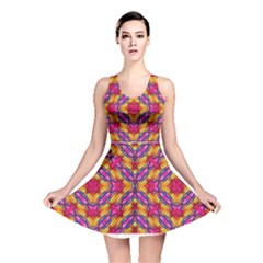 Multicolored Abstract Print Reversible Skater Dress