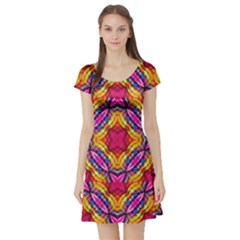 Multicolored Abstract Print Short Sleeved Skater Dress