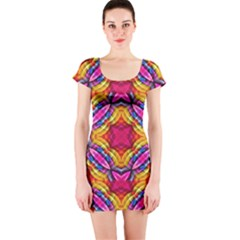 Multicolored Abstract Print Short Sleeve Bodycon Dress
