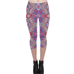 Colorful Ornate Decorative Pattern Capri Leggings