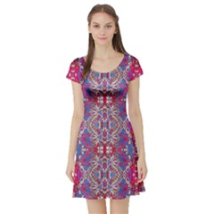Colorful Ornate Decorative Pattern Short Sleeved Skater Dress