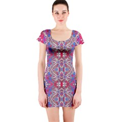 Colorful Ornate Decorative Pattern Short Sleeve Bodycon Dress