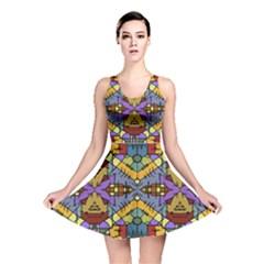 Multicolored Tribal Print Reversible Skater Dress