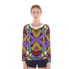 Multicolored Tribal Print Long Sleeve T Shirt (women)