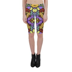 Multicolored Tribal Print Cropped Leggings