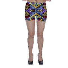 Multicolored Tribal Print Skinny Shorts