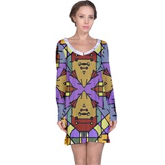 Multicolored Tribal Print Long Sleeve Nightdress
