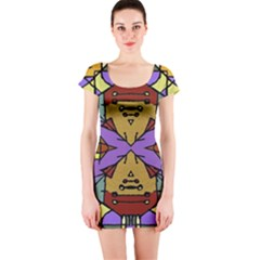 Multicolored Tribal Print Short Sleeve Bodycon Dress