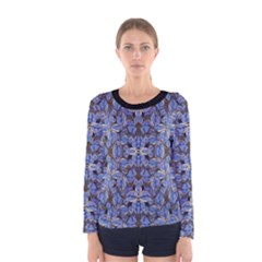 Floral Print in Navy Tones Long Sleeve T-shirt (Women)