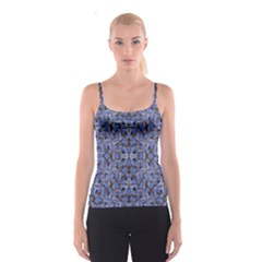 Floral Print in Navy Tones Spaghetti Strap Top