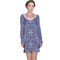 Floral Print in Navy Tones Long Sleeve Nightdress