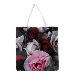 Black and White Roses Grocery Tote Bag