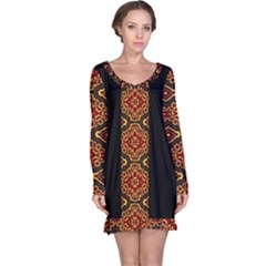 Tribal Print Vivid Pattern Long Sleeve Nightdress