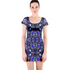 Decorative Retro Floral Print Short Sleeve Bodycon Dress