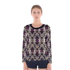 Abstract Geometric Modern Seamless Pattern Long Sleeve T Shirt (women)