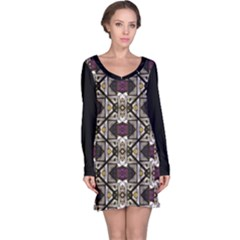 Abstract Geometric Modern Seamless Pattern Long Sleeve Nightdress