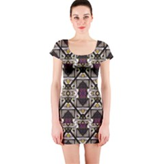 Abstract Geometric Modern Seamless Pattern Short Sleeve Bodycon Dress