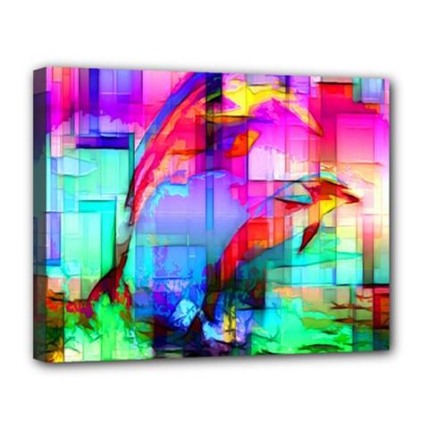 Tim Henderson Dolphins Canvas 14  X 11  (framed)