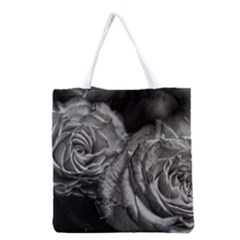 Black and White Tea Roses Grocery Tote Bag