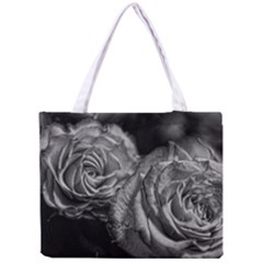 Black and White Tea Roses Tiny Tote Bag