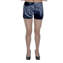 Black and White Tea Roses Skinny Shorts