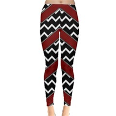 Black White Red Chevrons Leggings