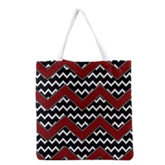 Black White Red Chevrons Grocery Tote Bag
