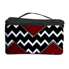 Black White Red Chevrons Cosmetic Storage Case