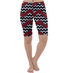 Black White Red Chevrons Cropped Leggings