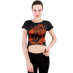 Red Rose Etching On Black Crew Neck Crop Top
