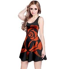 Red Rose Etching On Black Sleeveless Dress