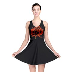 Red Rose Etching On Black Reversible Skater Dress