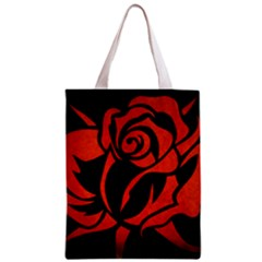 Red Rose Etching On Black Classic Tote Bag
