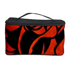 Red Rose Etching On Black Cosmetic Storage Case