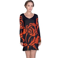 Red Rose Etching On Black Long Sleeve Nightdress