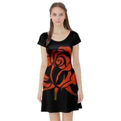 Red Rose Etching On Black Short Sleeved Skater Dress