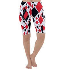 Distorted Diamonds In Black & Red Cropped Leggings